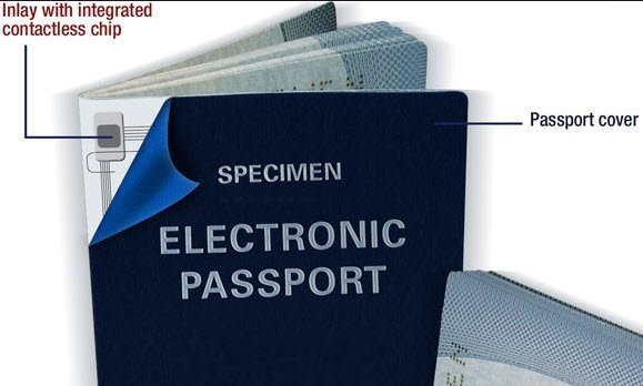 RFID chip embedded in passport