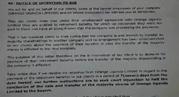 1st Letter From Plaintiff  to Orange CEO Intention to sue