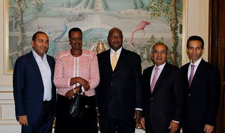 21st October 2014: HE and Mrs Museveni, Mr. Hinduja and His Two Sons