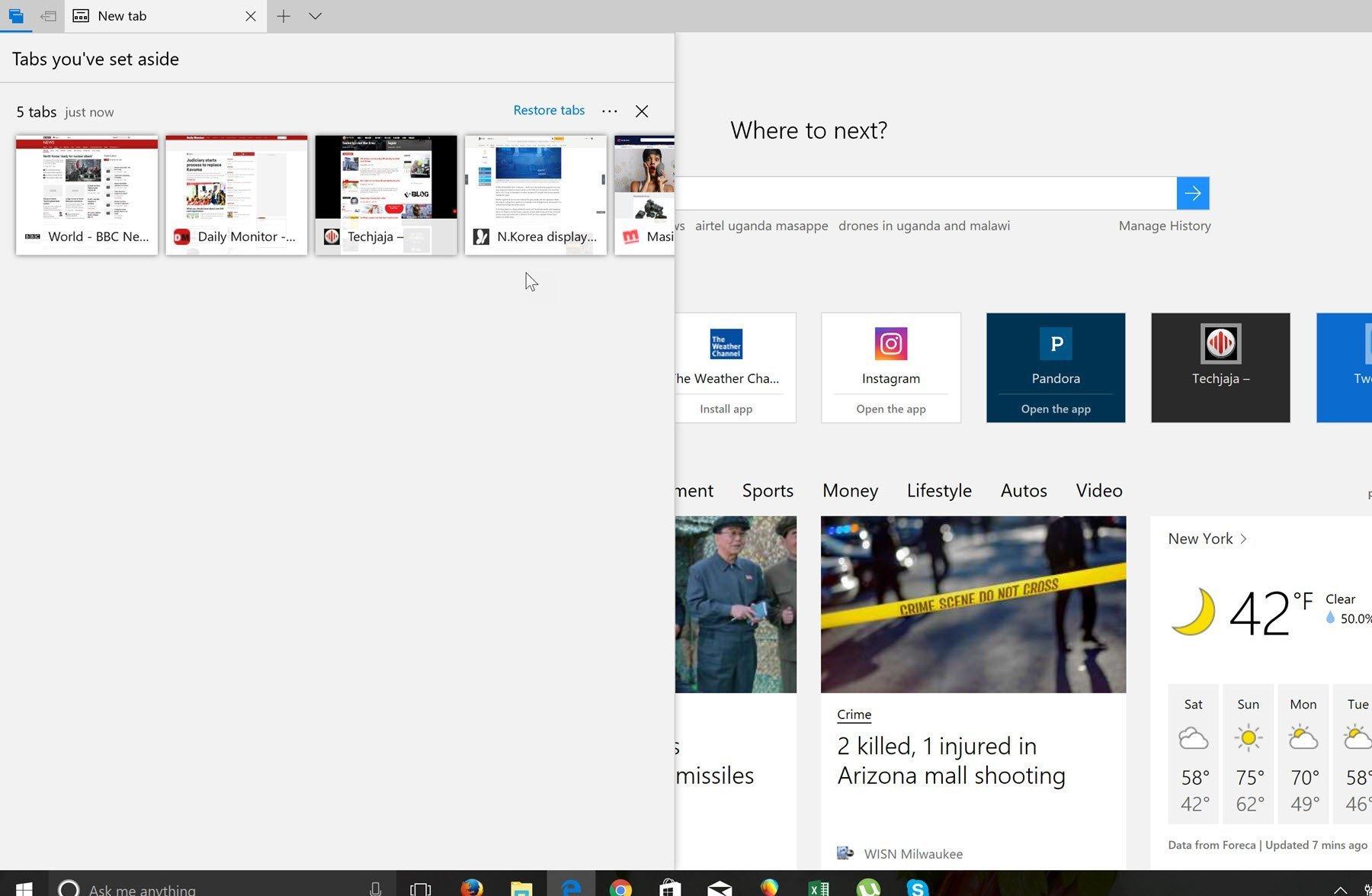 Windows 10 _Tab set aside in browser